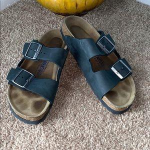 Birkenstock Size 38/8 Black Leather Sandals